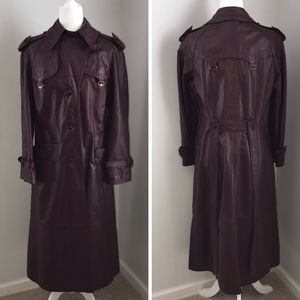 Vintage Etienne Aigner Burgundy Leather Trench
